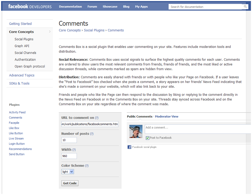 Facebook Comments Screen 2